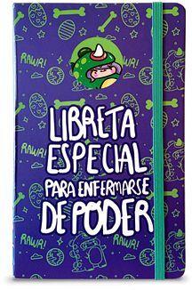 LIBRETA DE NOTAS VANIA BACHUR MORADO/DINOSAURIO C/ELASTICO VERDE