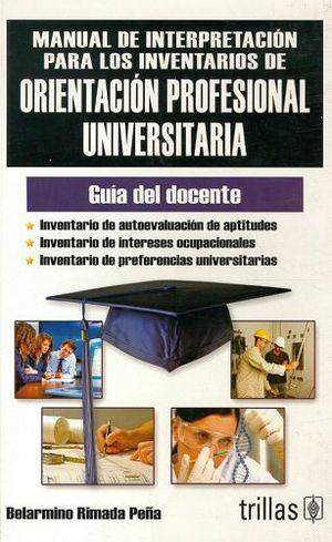MANUAL DE INTER. PARA LOS INVENTARIOS DE ORIENTACION PROFESIONAL