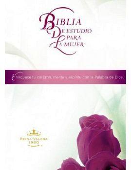 BIBLIA DE ESTUDIO PARA LA MUJER           (EMPASTADO/BLANCO/ROSAS