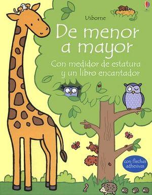 DE MENOR A MAYOR    (CAJA C/MEDIDOR DE ESTATURA Y LIBRO)