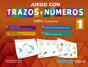JUEGO CON TRAZOS Y NUMEROS 1 PREESC. 2ED. (LETRA CURSIVA)