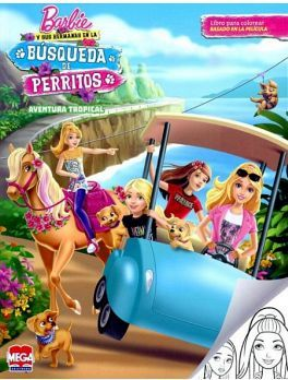 BARBIE BUSQUEDA DE PERRITOS -AVENTURA TROPICAL- (P/COLOREAR)