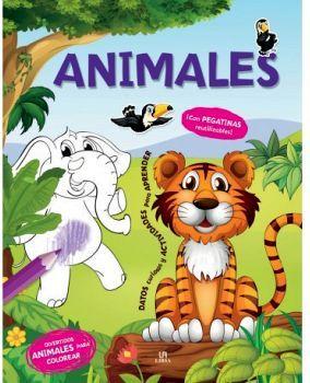 ANIMALES -DIVERTIDOS ANIMALES PARA COLOREAR- (C/PEGATINAS)