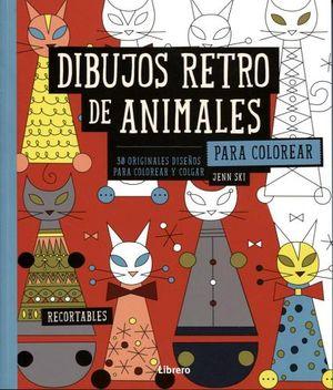 DIBUJOS RETRO DE ANIMALES PARA COLOREAR