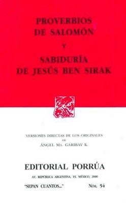 054 PROVERBIOS DE SALOMON Y SABIDURIA DE JESUS BEN S.